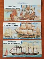 3x AIRFIX model images Hand Signed by Roy Cross model collectors ships / boats