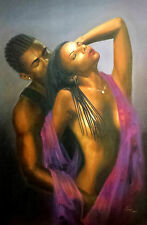 "African American Art ""Point of No Return"" Black Romantic art print by Ibe"