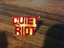 QUIET RIOT Vintage 1980s Push Pin Back Enamel Badge; Cum on Feel the Noize; EX