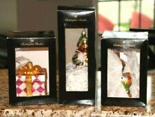 Christopher Radko Lot of 3 Ornaments Wrapped Present, Catnip, Clown Jester