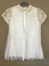 Vtg L'Enfant Ivory Baby Christening Baptism Pleated Organdy Dress Formal w/Veil