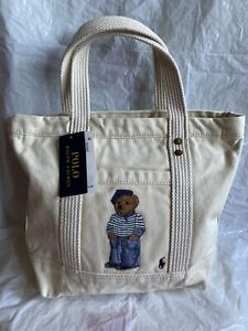 Ralph Lauren Polo Off White Polo Bear Small Canvas Tote - Unisex