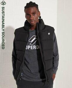 Superdry Mens Sports Puffer Gilet-Black