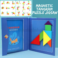 Magnetic Tangram Puzzle Jigsaw Montessori DIY Wooden Gaming Kids Educational Toy