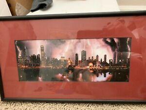 Chicago Skyline Lightning FRAMED ART PRINT Picture Poster Artwork