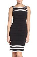 ADRIANNA PAPELL  JERSEY SHEATH BLACK/IVORY DRESS sz 12