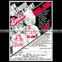 Mattel BIG JIM & BARBIE T-Shirt Pub 1975 Publicité Vintage Action Figure Ad #D12