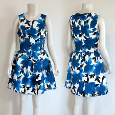Blue Flower Sleeveless Fit and Flare Palette Dress/ Large