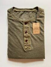 J Crew Mens Pocket Henley Long Sleeve(NWT) Olive Garment Dyed UP TO 57% OFF MSRP