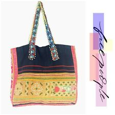 Free People Technicolor Embellished Tote Tricia Fix X Large Hobo Bag Boho New A
