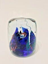 "dArt Glass Cylinder Shape Aquarium Fish on Blue Kelp 3"" x 2.75"",  Paperweight"