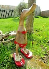 More details for fair trade hand carved made wooden bamboo root flip flop duck ornament sculpture