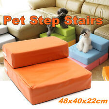 Sofa Folding Portable 2 Step Dog Cat Pet Stair Ramp Ladder Leather Cover Bed