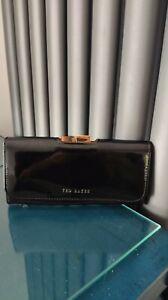 Ted Baker Black Patent Leather Wallet Purse Size 19 x 9cm *VGC*