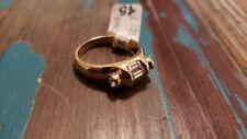 Australian Crystal Clear Rhinestone Ring, Gold Tone, Size 7