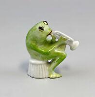 9986255 Porzellan Figur Frosch mit Trompete Lindner H6,5cm