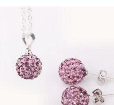 Women Exquisite Korean Style Shambhala Pink Crystal Necklace Earrings Sets