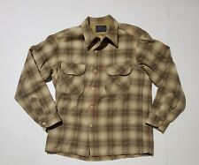 Pendelton Long Sleeve Brown Blue Cream Shadow Plaid Button Up Front Pocket M