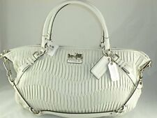 New With Tags COACH 15947 MADISON GATHERED LEATHER LARGE SOPHIA SATCHEL SV/White