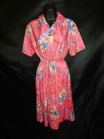 Vintage 70s Lannie's S Pink Blue Floral Shirt Dress Short Sleeve Knee Belted