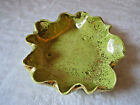 """VINTAGE MID CENTURY MODERN LIME GREEN GOLD SPECKLE RUFFLED CERAMIC  BOWL 11"""""""