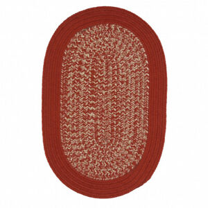 Puritan Red Bordered Country Farmhouse Oval Braided Area Rug