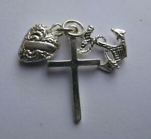 Sterling Silver Large Faith, Hope and Charity Charm 3.4g