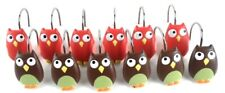 Brown Green & Red Pink Owl Shower Curtain Hooks Set of 12 Resin Whooty Owls
