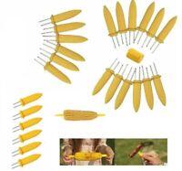 12x Stainless Steel Corn On The Cob Skewers Sweetcorn Holder Easy Grip BBQProngs
