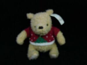 "6"" Walt Disney Classic Winnie Pooh Christmas Sweater Bear Plush Toy NWT"
