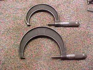 """2 Vintage Brown & Sharpe Micrometers 3"""" & 4""""  Sold as Found"""