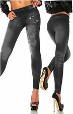 New Womens Denim Look Leggings Jeans Jeggings Stretchy Skinny Full Length Pants