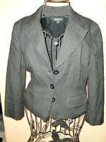 "Made in USA Women's""bebe""Black Striped 3 Button Front Jacket/Blazer size 6.Cute!"