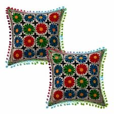 Decorative Cotton Floral Pom Pom 16 Inch Suzani Embroidered Throw Pillow Covers