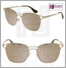 f1a03f00b54 PRADA CINEMA Square PR54TS Pale Gold Mirrored Metal Sunglasses 54T Women