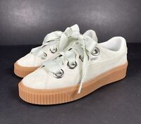 Puma Kiss Suede Womens Mint Platform Trainers Ribbon Lace Casual Fashion UK 4.5