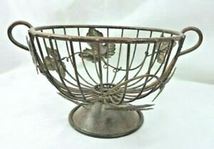 Metal Basket Ivy Leaves Pedestal Base Wire Décor Rustic Fall Storage Home Decor