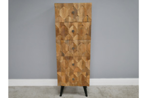 Reclaimed Mango Wood Drawers with Carved Front & Iron  Frame Tall Boy