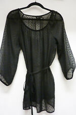 AB Studio Boho Black Sheer, Polka Dot,  Off The Shoulder, Long Sleeve Top Sz L