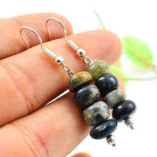 35.00 Cts Natural Picasso Jasper Round Shape Untreated Beads Earrings NK 27E93