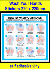 220mm How to wash your hands instructional poster Sticker, viny Decal sink sign