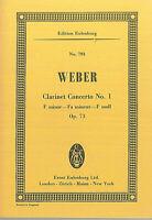 Taschenpartitur ; WEBER ~ CLARINET CONCERTO- Op. 73 - F moll