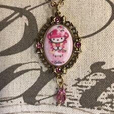 Tarina Tarantino Hello Kitty Pink Kawaii Swarovski Goldtone Pendant Necklace