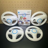 NINTENDO MARIO KART WII  WITH Four 4 OEM OFFICIAL STEERING WHEELS LOT - Tested