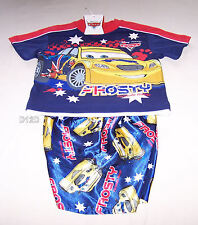Disney Pixar Cars Frosty Boys Navy Printed Cotton Satin Pyjama Set Size 3 New
