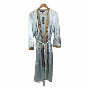 Alexander del Rossa Men's Medium Satin Wrap Front Kimono Robe Waist Tie Blue New