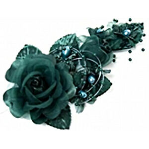 """3 hunter green Silk Pearl & organza flower  Corsages 5""""x 2.5 with pearl pin"""