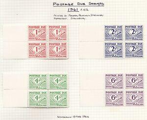 Rhodesia & Nyasaland: 1961.  Postage Due Set.  SG: D1/4 in blocks of 4