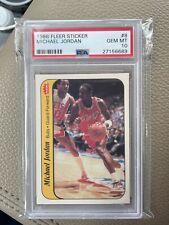 1986 Fleer Sticker Basketball Michael Jordan ROOKIE #8 PSA 10 BULLS GEM MINT HOF