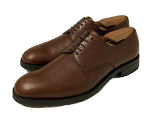 JM Weston 556 Brown Grain Leather Plain Toe Blucher Oxford Handmade France 9/D